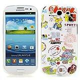Handy Lux® Schutz Hülle für Samsung Galaxy S3 i9300 i9305 LTE / NEO i9301 TPU Silikon Case Etui Cover Involto Motiv Design Hülle Comic White