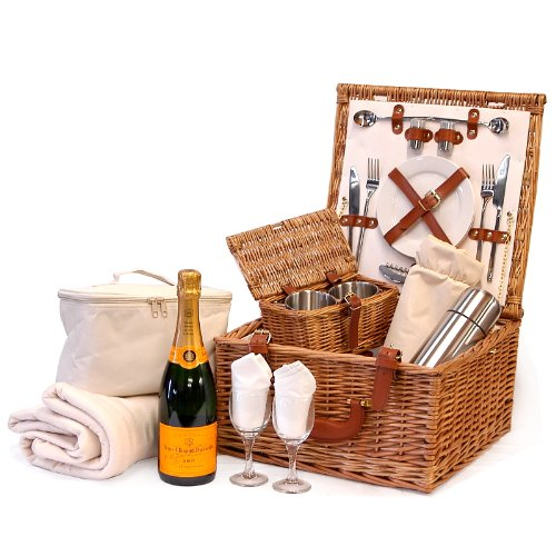 Fine Food Store Deluxe Harpenden 2 Person Wicker Picnic Hamper Cooler Basket with Veuve Clicquot Champagne and Accessories 75 cl