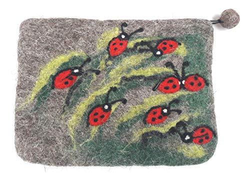 Täschchen aus Filz Marienkäfer Geldbeutel Kosmetiktäschchen Filztäschchen klein Glücksbringer
