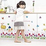 PANDABOOM Blumengarten Zaun Abnehmbare Wohnzimmer Kinderzimmer Schlafzimmer Dekor Wandbild Selbstklebende Linie Wandaufkleber