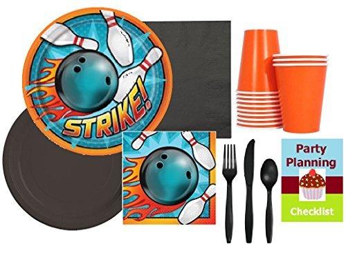 Bowling-Partyzubehör-Set für 16 Gäste, Teller, Servietten, Becher, Besteck & Partyplanung, Checkliste -