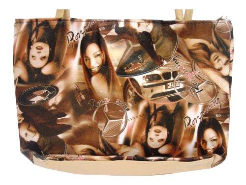 Mädchen bedruckt Tasche PVC Hand beige Reißverschluss–Autos mit OAXUXw