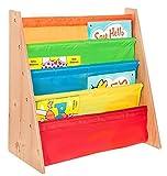 LIVIVO®, scaffale in legno per bambini, con tasche di facile accesso in morbido tessuto di nylon per proteggere i libri, dell'altezza perfetta per i piccoli lettori Multi-colour