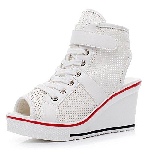 Wealsex Basket Compensées Femme Mesh PU Cuir Montante Scratch Lacet Bout Ouvert Chaussure Plateforme Grande Taille 40 41 42 43 Blanc