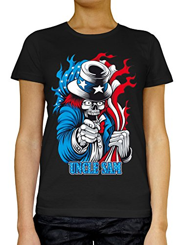 Uncle Sam Angry Skull American LukeTee Women's T-Shirt Large (Notre-dame-tattoo)