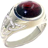 925 Solid Sterling Silver Natural Cabochon Garnet Mans Signet Ring - Sizes N to Z+3