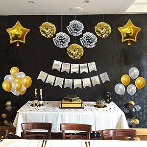 Set Decoraciones Fiesta 33 Piezas Doradas y Plateadas por Belle Vous - Pompones, Globos de Látex y de Papel de Aluminio y Pancartas para Celebraciones de Cumpleaños y Fiestas - Kit Lote Decoraciones para Chicas, Chicos y Adultos de BELLE VOUS