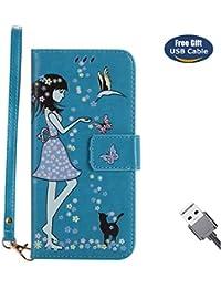 Funda LG G6,Funda Cover LG G6,Aireratze Slim Case de Estilo Billetera Carcasa Libro de Cuero,Carcasa PU Leather Con TPU Silicona [Material luminoso seguro] [Girl Cat Pattern] para Mujeres niña Case Interna Suave [Función de Soporte] [Ranuras para Tarjetas y Billetera] [Cierre Magnético] para LG G6 (Azul) (+ Cable USB)