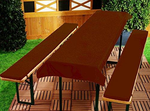 Bierbankauflage 3er Set gepolstert 220 x 25 x 2 cm Uni Farben Biertischauflage Tischdecke Auflage...