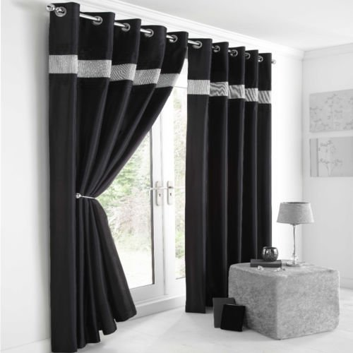 Silver and Black Curtains: Amazon.co.uk