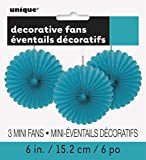 Mini Teal Tissue Paper Fan Decorations, Pack of 3