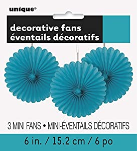 Unique Party- Paquete de 3 decoraciones abanicos pequeños de papel de seda, Color azul cerceta, 15 cm (63253)