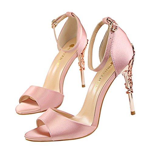 z&dw Metal sexy avec des talons hauts en satin bouche creuse de poisson avec sandales Chaussures de mariage Rose