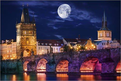 Poster 91 x 61 cm: Karlsbrücke Prag von Dirk Petersen - hochwertiger Kunstdruck, neues Kunstposter