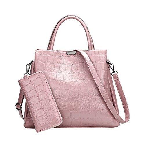 Borsa Della Borsa Della Spalla Della Cartella Del Cuoio Della Borsa Delle Signore Di Embossing 2 Di Modo Multicolore Pink