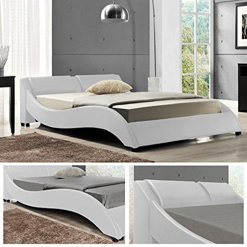 OSLO Doppelbett Polsterbett Bettgestell Bett Lattenrost Kunstlederbett (Weiss, 180cm x 200cm)