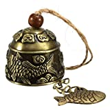 #10: Electomania Chinese Fish Feng Shui Bell Blessing Good Luck Fortune Hanging Wind Chime (Brass)