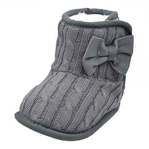 Itaar Bebe Chaussures Bottes Crochet Tricot Creche Polaires pour Enfant 3-18 Mois en Bas Age Petits Filles Laine Neige Crib Bottines de Premier Pas (13/ 12-18mois, Gris) Gris