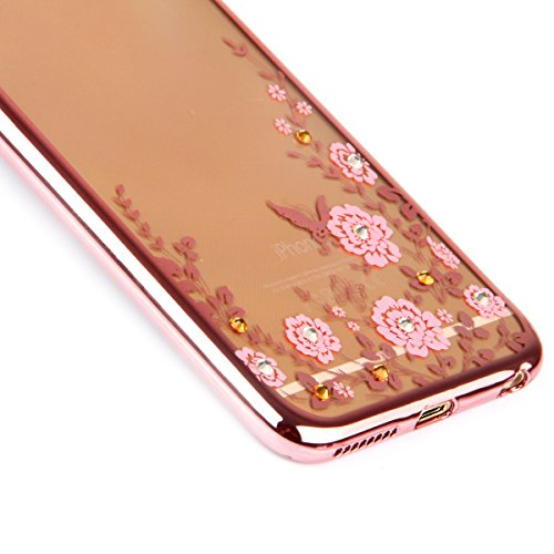 iPhone 6S Plus Silicone Case Cover,iPhone 6 Plus Coque - Felfy Ultra Slim Souple Cristal Clair Gel TPU Placage Cadre Bumper Case Coque Housse Protecteur Bling Glitter Diamant Clair Transparent Case (C Fleurs Roses Rose D'or Cover