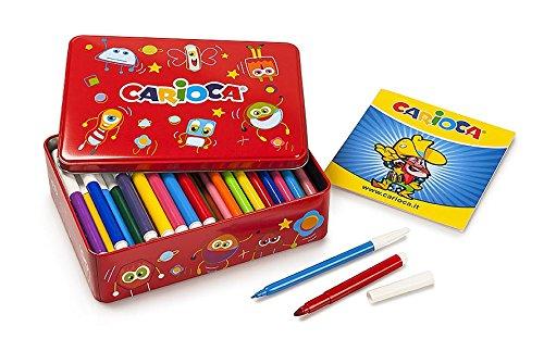 Carioca kit 60 fine 40 pennarelli punta grande ed un album da colorare, 42736-10