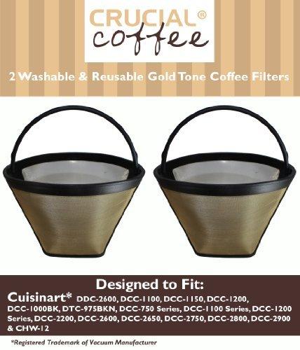 Cuisinart GTF Kaffeefilter, waschbar, wiederverwendbar, goldfarben, passend für Cuisinart Modelle DDC-2600, DCC-2700, DCC-1100, DCC-1150, DCC-1200, DCC-1000BK, DTC-975BKN, DCC-750 Serie, DCC-1100 Serie DCC-1200 Serie, DCC-2200, entworfen und entwickelt von Crucial Coffee, 2 Stück -