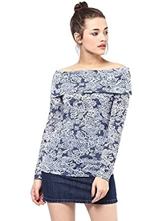 Femella Women's Blue burnout off shoulder top( DS-1599671-961-NAV-XXL)