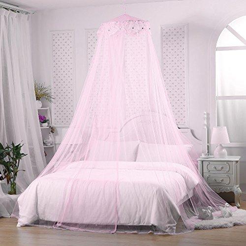 Jeteven Betthimmel Baldachin Mückenschutz Insektenschutz netz für Doppelbetten Baby Kid Kinder daheim oder für die Reise,Hohe 260cm. Rosa