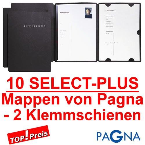 10 dreiteilige Bewerbungsmappen in SCHWARZ mit 2 Schienen von PAGNA // Deutscher Premium Hersteller // Bewerbung Mappe Bewerben