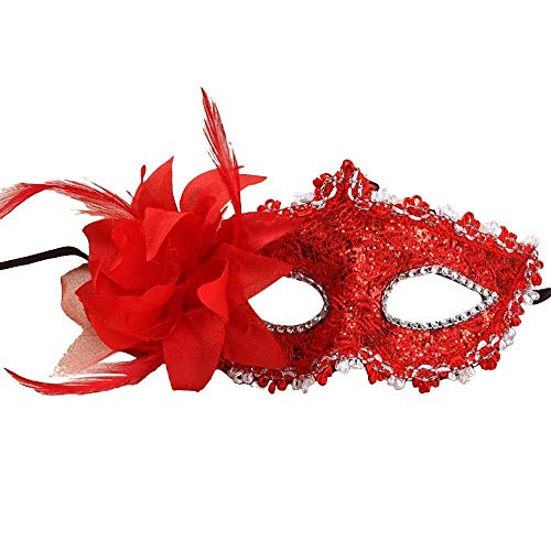 Kleiner Kinder Ingenieur Kostüm - WANG XIN Maskerade Masken mit Strass, Frauen Mädchen Lace Augenmaske, Kostüm Cosplay Maske for Karneval, Halloween Kostüm Party, Silvester Party (rot) (Color : Red)