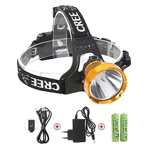 Lampe Frontale Puissante à 1200 lumens, Lampe Torche LED avec LED L2 Zoomable et Étanche, Grande Autonomie avec les Accus Rechargeable pour la Cave,la Spéléologie, la Chasse,l'Excursion, la Pêche,les Travaux de Mine,le Kayak et la Recherche(Neolight W01)