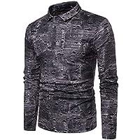 Camisa Slim Fit Casual de Primavera para Hombre Camisa con Botones de Manga Larga Top Blusa.