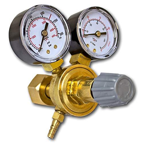 STAHLWERK Mini Druckminderer für ARGON /CO2 / Mischgas/Schutzgas bis 315 Bar und 20 L/Min. für WIG/MIG/MAG Schweißgeräte