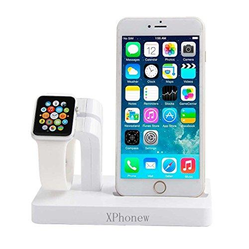 iPhone Cargador Dock, XPhonew 2 en 1 Apple Watch Stand iPhone Cargador Dock Docking Station Holder Display Cradle para iPhone 7/7 Plus / 6S / 6S Más 6/6 Plus / 5S / 5 / SE iWatch 42mm y 38mm Todos los modelos (blanco)
