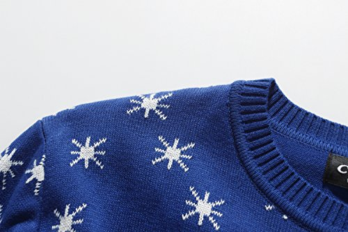 Camii Mia Pull pour Noël Femme Col Rond Renne Flocon de neige Bleu