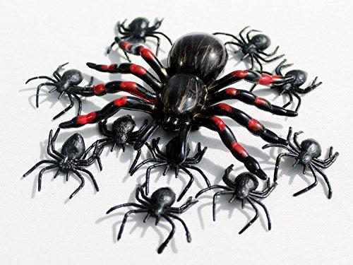 en Deko I 11 Teile Spinnen Tarantel Groß Klein Rot Schwarz Happy Horror Grusel Party (Bowle Halloween Kostüm)