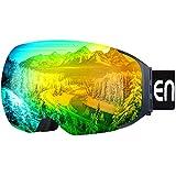 Enkeeo Skibrillen Snowboardbrille Abnehmbare Dual-Layer Anti-Fog Linse 100% UV400 Schutz, Bendable Frame, Anti-Rutsch-Gurt mit Komfort, Wind-beständig 3 Ebenen Schaum für Erwachsene Snowboarding Skating (Gelb)