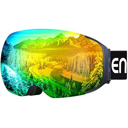 Enkeeo - Gafas de Esquí, de Snowboard (Lente de dual capa Anti-Niebla, 100% UV400 protección, marco doblable, correa antideslizante, 3 capas de espuma resistente al viento) (Amarillo)