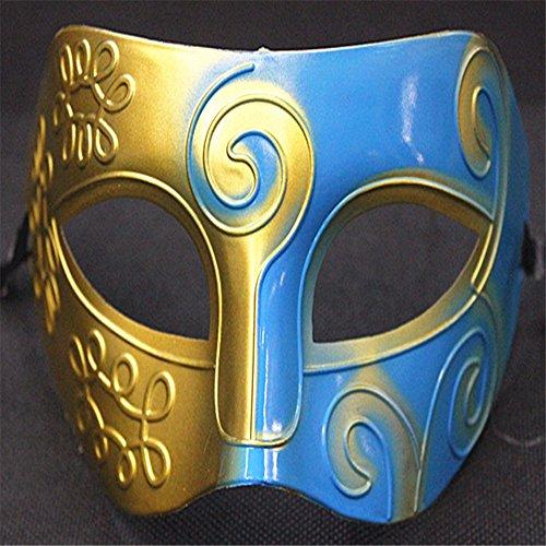 Griechische Fancy Kostüme Dress Römische (Mens Silver Masquerade griechische römische Gesichtsmaske für Fancy Dress Maskenball, Blue)