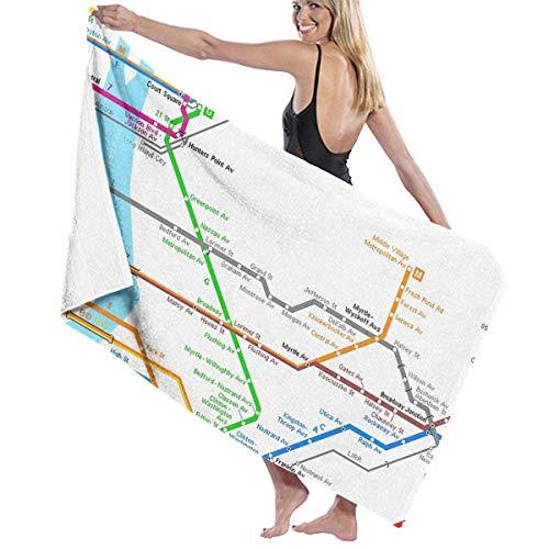 Zhengzho U-Bahn-Karte von New York City Erwachsene Mikrofaser-Badetuch Übergröße 80X130 cm Schnelltrocknend Umweltfreundlich Badetuch für Frauen Männer -