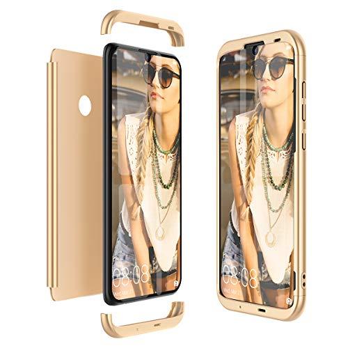 Winhoo Kompatibel mit Huawei Honor 10 Lite Hülle Hardcase 3 in 1 Handyhülle 360 Grad Schutz Ultra Dünn Slim Hard Full Body Case Cover Backcover Schutzhülle Bumper - Gold -