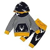 Kangrunmy Ensemble Bebe Fille Garcon Hiver Cerf Imprimé Manches Longues Infant Sweat A Capuch T-Shirt + Pantalon 2Pcs Tenues VêTements De BéBé MéLange De Coton 0-18 Mois (0-6 mois, Gris)