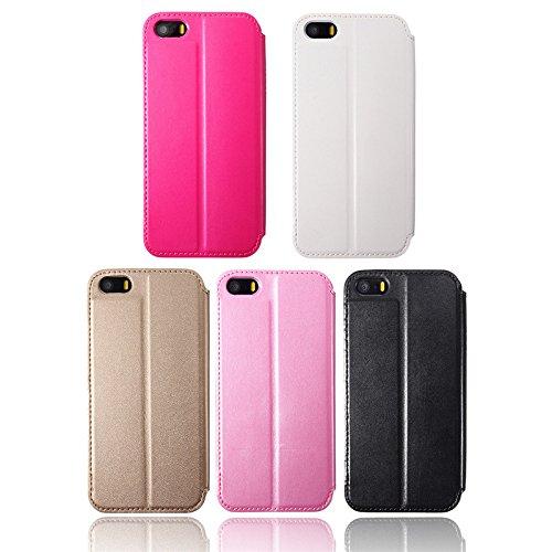 Pour iPhone 5 5S Affichage de luxe Cadre PU Case portefeuille en cuir Couverture PC Support Window Case rose