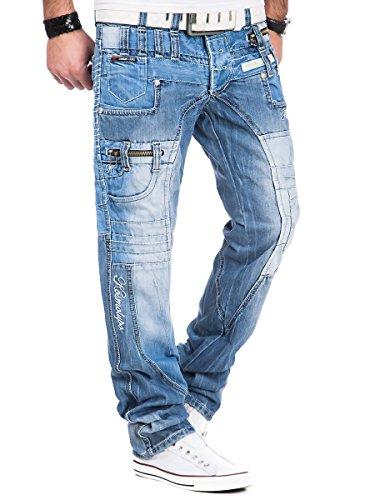 Kosmo Lupo Herren Jeans Denim Hose Japan Style Used Look Blau Blau