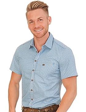 Spieth & Wensky Trachten Herren Hemd mit 1/2-Arm - GRASDORF - Blau, Rot