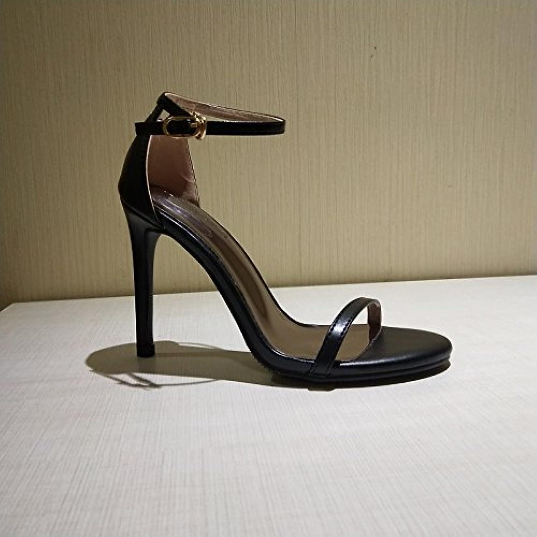 SHOESHAOGE Feine Mit Geschlitzten Schnalle High Heels Mit Dünnen Schwarzen Dew-Female Sandalen