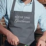 17;30 made in Hamburg Küchenschürze Grau mit Spruch weiß Köche Sind Gentlemen 80 x 60cm