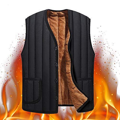 caidi Chaleco plumífero–Chaqueta Hombre Invierno Large cálido Gruesa sin Mango (tamaño Grande, Acolchado Hombre Abrigo Sin Mango Negro Negro XL(45 kg - 65 kg)