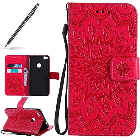 Uposao Kompatibel mit Handyhülle Huawei P8 Lite 2017 Leder Tasche Schutzhülle Brieftasche Handytasche Retro Vintage Henna Mandala Blumen Ledertasche Lederhülle Klapphülle Case Flip Cover,Rose