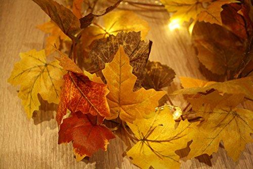 Herbstgirlande Herbstblätter mit 20 LEDs Beleuchtet Batteriebetrieben und (Timer 6 / 18) ca 180 cm Lang Farbe: braun mit (Kürbis Blatt)