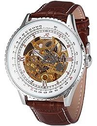 KS KS111 - Reloj Mecánico Hombre, Correa de Cuero Marrón